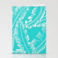 Modern Palm Leaves - Turquoise Blue and White Stationery Cards