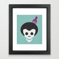 Skull With Afro. Framed Art Print