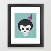 Skull With Afro. Framed Art Print