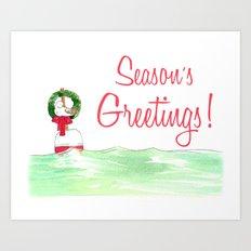 Season's Greetings Seagull  Art Print