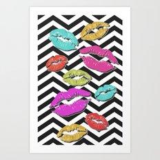 Chevron Kisses Art Print