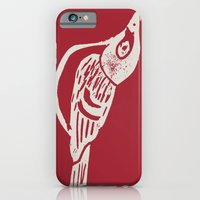 iPhone & iPod Case featuring Black Capped Vireo - Hand Carved Stamp by owlandchickadee