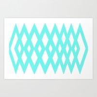 Aqua Diamonds Art Print