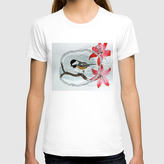 Black capped chickadee and fantasy flowers and lines T-shirt