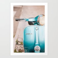 Blue Vespa Art Print