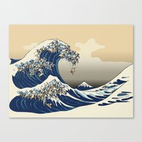 The Great Wave of Pugs Vanilla Sky Canvas Print