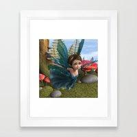 Flying Little Fairy Butterfly Framed Art Print