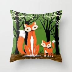 Two Fine Foxes Throw Pillow