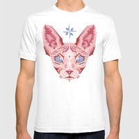 Sphynx Cat - Rose Quartz and Serenity version Mens Fitted Tee White SMALL