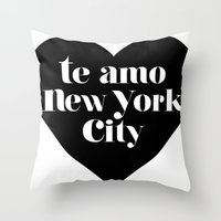 Te Amo Nyc Heart Throw Pillow
