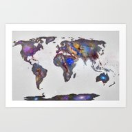 Stars World Map Art Print
