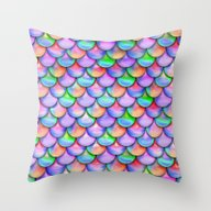 Colorful Mermaid Tail  Throw Pillow