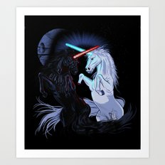 Starwars with unicorns (black) Art Print