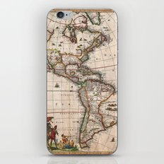 1658 Visscher Map of North America & South America (with 2015 enhancements) iPhone & iPod Skin