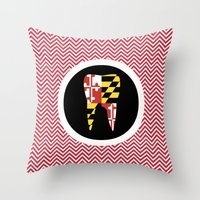 Red Chevron Tooth Throw Pillow