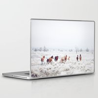 horses Laptop & iPad Skins featuring Winter Horses by Kevin Russ