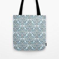 Damask Nature Blue Tote Bag