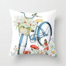 Blue bike & red poppy Throw Pillow