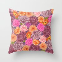 WILDFLOWER: Roses, Chrys… Throw Pillow