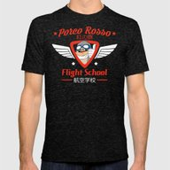 Porco Rosso Flight Schoo… Mens Fitted Tee Tri-Black SMALL