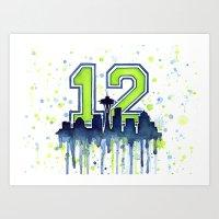 Seahawks 12th Man Fan Art Art Print
