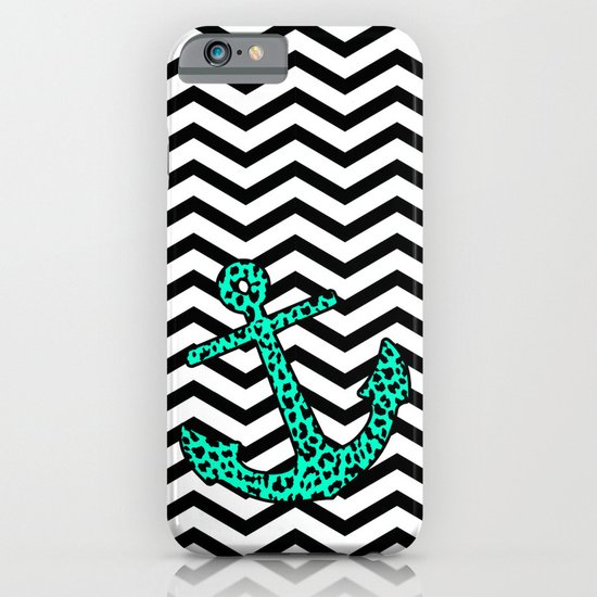 Mint Leopard Chevron Anchor iPhone & iPod Case