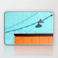 Electric Aqua building orange door Laptop & iPad Skin