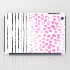 Dot Stripe hot pink black and white minimal abstract painting pattern trendy boho urban bklyn art iPad Case