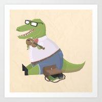 Hipster Dinosaur Jammin' on his Fiddle Art Print