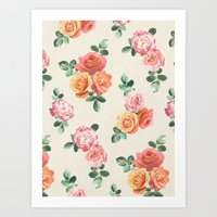 Retro Peach And Pink Ros… Art Print
