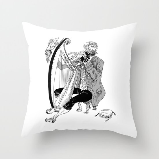 Ye Olde Harp Player Throw Pillow