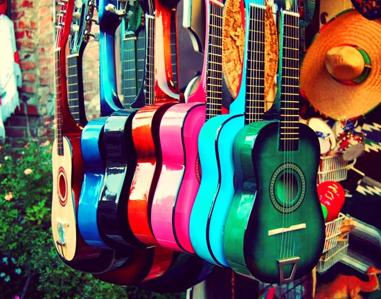 las guitarras. spanish guitars, Los Angeles photograph Canvas Print