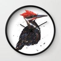 Woodpecker painting, bird paintings, bird lover gift, pileated woodpecker Wall Clock