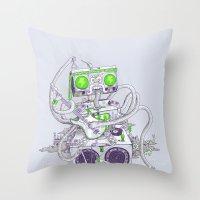 Hippy Robot Throw Pillow