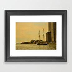 Vintage NY Harbor Tall Ship Framed Art Print