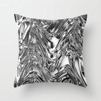 Silver Molten Metal Throw Pillow