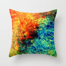 Abstract painting orange blue Throw Pillow