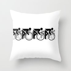 The Bicycle Race 2 Throw Pillow