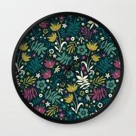 Midnight Florals (pop) Wall Clock