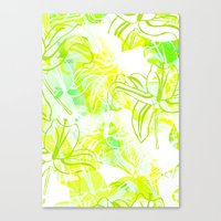 Green Flowers Canvas Print