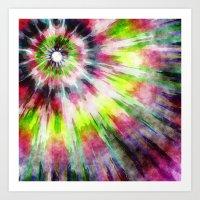 Kiwi Tie Dye Watercolor Art Print