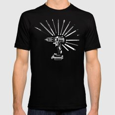 Power Tools Drill Art Bits Doodle SMALL Mens Fitted Tee Black