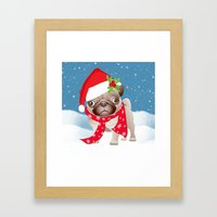 Pug Dog With Cute Santa … Framed Art Print