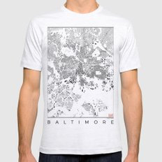 Baltimore Map Schwarzplan Only Buildings Mens Fitted Tee Ash Grey SMALL