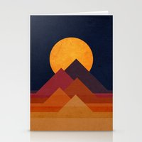 sun Stationery Cards featuring Full moon and pyramid by Picomodi