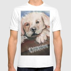 Puppy Touchdown SMALL White Mens Fitted Tee