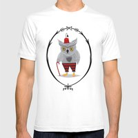 Olaf The Old Grey Owl Mens Fitted Tee White SMALL