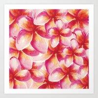 Plumeria Floral Watercol… Art Print