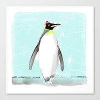 Penguin with hat Canvas Print
