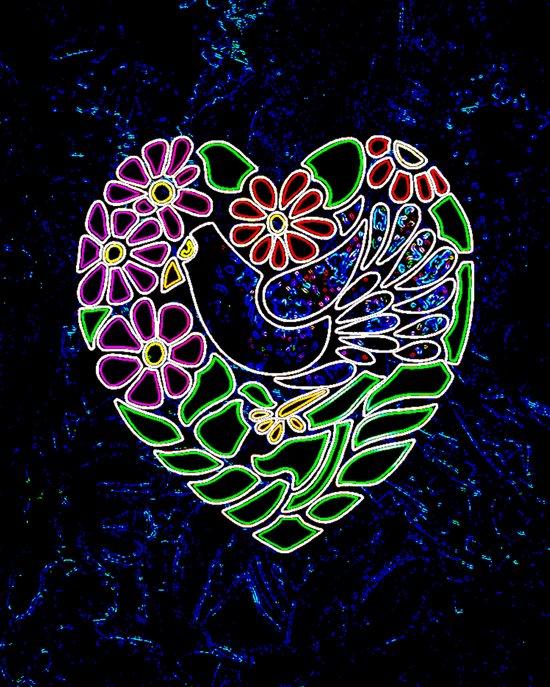 Gothic Bird in Heart Art Print